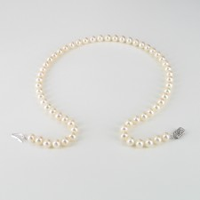 Executive Round Pearl Necklace AAA 7-7.5mm With 14K White Gold