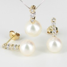 Pearl & Diamond Pendant & Earrings Set 8.5-10mm 18K White & Yellow Gold