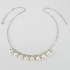 White 8-8.5mm AAA Pearl & Topaz Necklace On Sterling Silver Chain