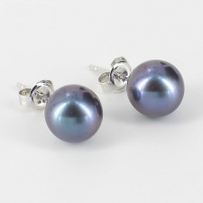 Black Pearl Stud Earrings  8-8.5mm On 9K White Gold