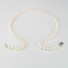 Classic Akoya Pearl Necklace AAA 7-7.5mm With 14K White Gold