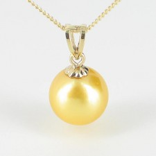 Golden Akoya Pearl Pendant Necklace 8-8.5mm On 9K Yellow Gold