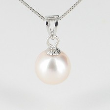 Akoya Pearl Pendant Necklace AAA 7.5-8mm With 18K White Gold