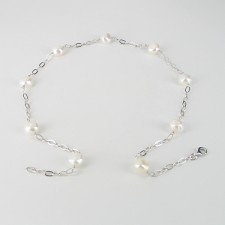 Baroque Pearl Silver Chain Necklace 9.5-11mm On Sterling Silver