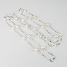 Long 120cm Baroque Pearl Necklace 9-10mm With Sterling Silver Chain