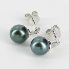 Tahitian Pearl & Diamond Earrings 8-9mm With 9K White Gold