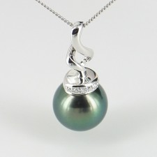 Tahitian Pearl & Diamond Pendant Necklace 10-11mm 9K White Gold