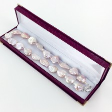 Pinkish Keshi Pearl Necklace 16-18mm With Sterling Silver