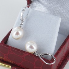Big White Freshwater Leverback Pearl Earrings AAA 9-9.5mm On Sterling Silver