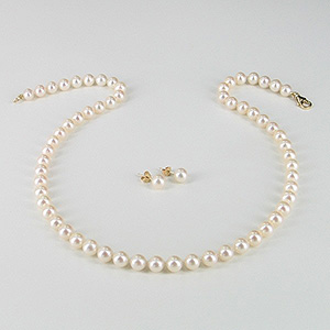 Classic Pearl Necklace & Pearl Earrings Gift Set